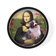 Mona Lisa and Australian Shepherd Wall Clock