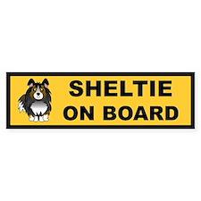 Sheltie on Board (tri color) Bumper Bumper Sticker