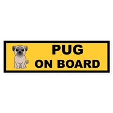 Fawn Pug on Board Bumper Bumper Sticker