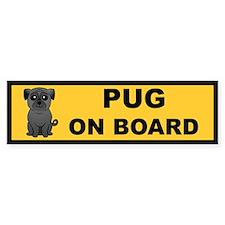 Black Pug on Board Bumper Bumper Sticker