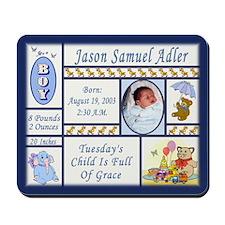 Personalized Boy's Sampler-Like Mousepad - Custom