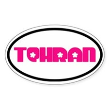 Tehran Pink Flowery Oval Decal