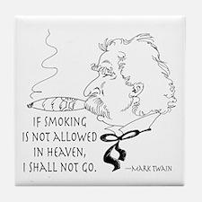 Cigar Smoker Mark Twain Quote Tile Coaster