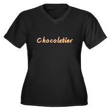 Chocolatier Women's Plus Size V-Neck Dark T-Shirt