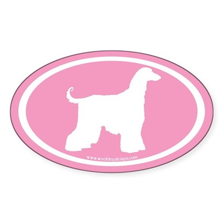 Afghan Hound Oval (white on pink) Oval Sticker