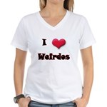 I Love(Heart) Weirdos Women's V-Neck T-Shirt