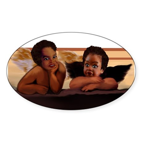 Nubian Cherubs Oval Sticker