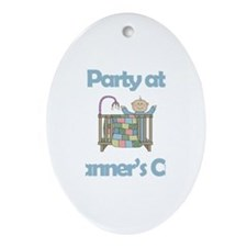 Party at Tanner's Crib Oval Ornament