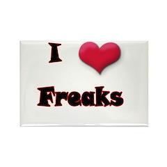 I Love(Heart) Freaks Rectangle Magnet (100 pack)