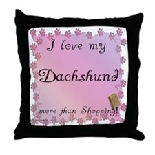 Dachshund Shopping Throw Pillow