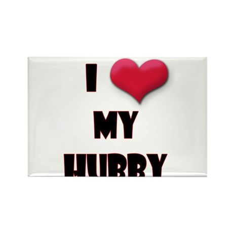 I Love(Heart) My Hubby Rectangle Magnet (100 pack)