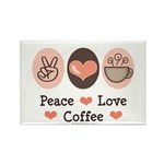 Peace Love Coffee Lovers Rectangle Magnet