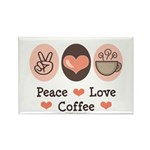 Peace Love Coffee Lovers Rectangle Magnet (100 pac