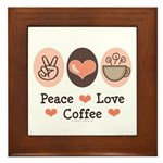 Peace Love Coffee Lovers Framed Tile