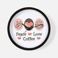 Peace Love Coffee Lovers Wall Clock