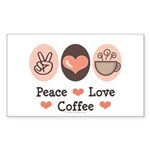 Peace Love Coffee Lovers Rectangle Sticker