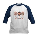 Peace Love Coffee Lovers Kids Baseball Jersey