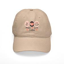 Peace Love Coffee Lovers Baseball Cap