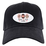 Peace Love Coffee Lovers Black Cap
