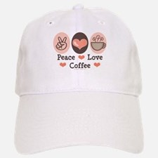 Peace Love Coffee Lovers Baseball Baseball Cap