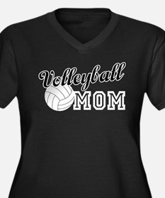 Volleyball M Women's Plus Size V-Neck Dark T-Shirt