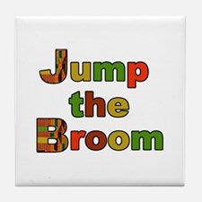 Kente Cloth Jump the Broom Tile Coaster