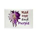 Red hot and purple Rectangle Magnet