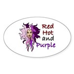Red hot and purple Oval Sticker
