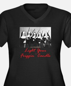 Light Your Candle Women's Plus Size V-Neck Dark T-
