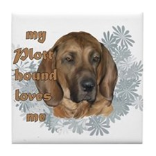 plott hound loves Tile Coaster