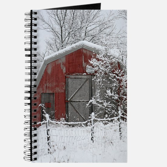 Red Barn In The Snow Journal