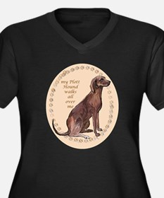 plott hound walks Women's Plus Size V-Neck Dark T-