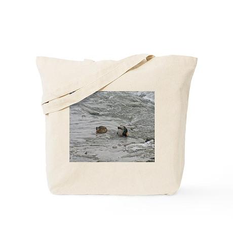 Mallard Duck Couple Swimming Tote Bag