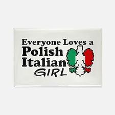 Polish Italian Girl Rectangle Magnet