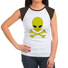 Women's Cap Sleeve T-Shirt - Alien skull and bone