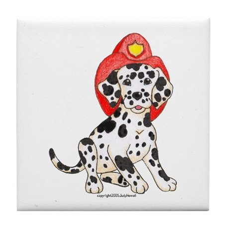 Fireman's Dalmation Tile Coaster
