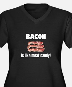 Bacon is like meat candy Women's Plus Size V-Neck