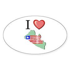 I Love Liberia Oval Decal