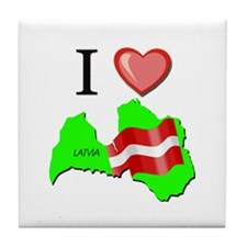 I Love Latvia Tile Coaster