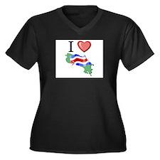 I Love Costa-Rica Women's Plus Size V-Neck Dark T-