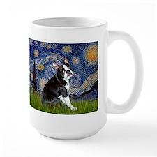 Starry Night/Boston Terrier Ceramic Mugs