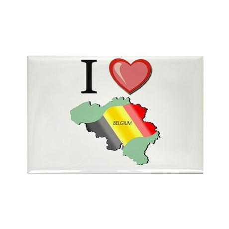 I Love Belgium Rectangle Magnet