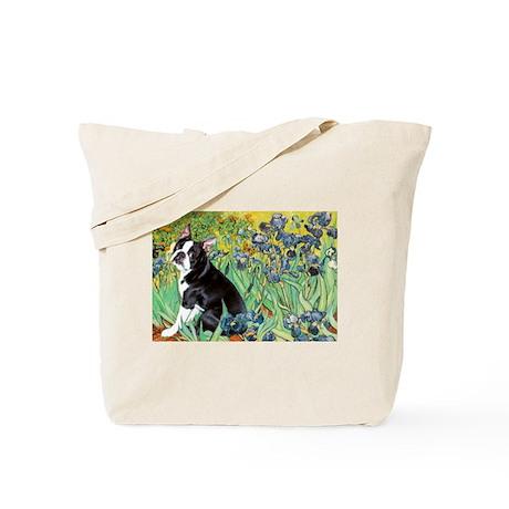 Irises & Boston Terrier Tote Bag