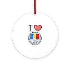 I Love Romania Football Ornament (Round)