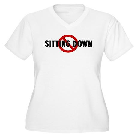Anti sitting down Women's Plus Size V-Neck T-Shirt