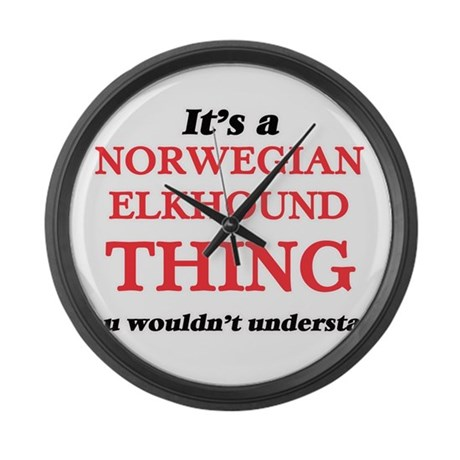 It's a Norwegian Elkhound thi Large Wall Clock