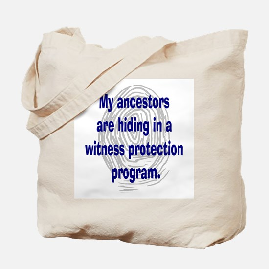 Genealogy's Witness Protection (blue) Tote Bag