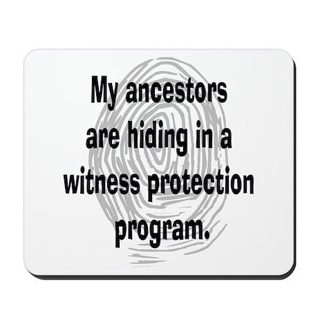 Genealogy's Witness Protection (black) Mousepad