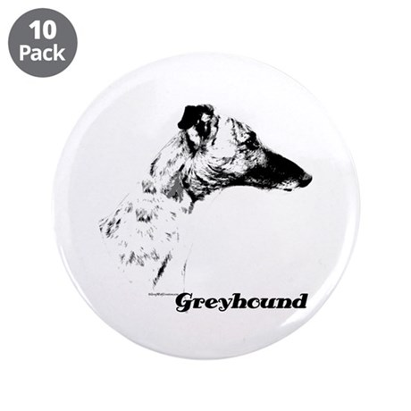 """Greyhound Charcoal 3.5"""" Button (10 pack)"""