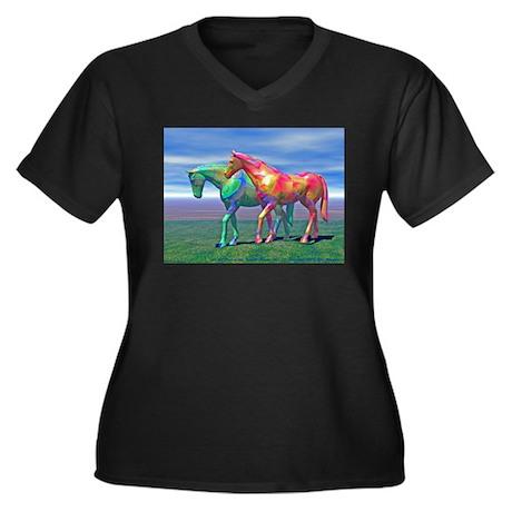 Fractal Horses #13 Women's Plus Size V-Neck Dark T